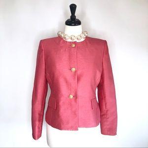 Vtg Kasper pink jacket gold buttons down size 6P